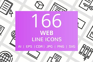166 Web Line Icons
