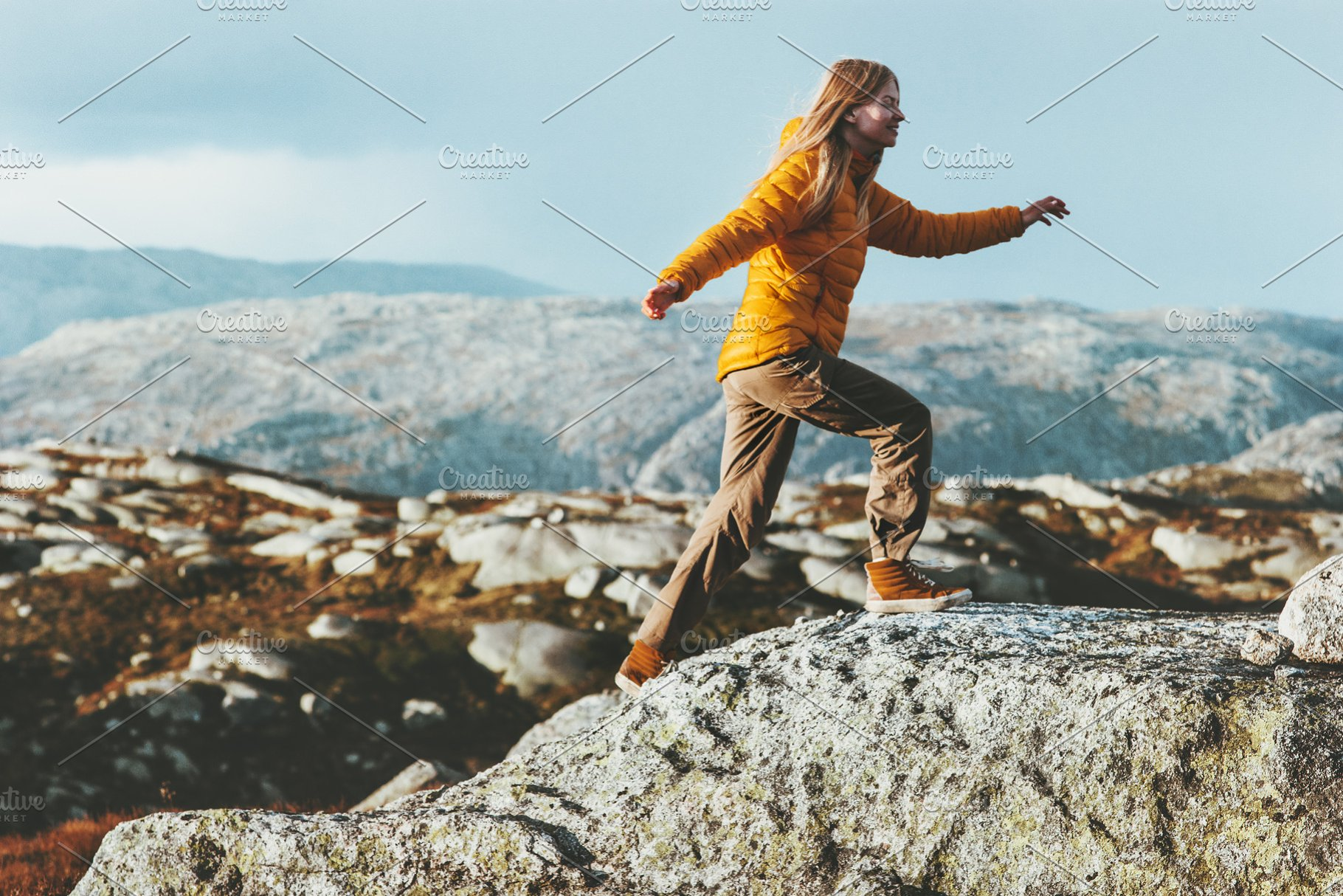 Happy Woman Running Outdoor