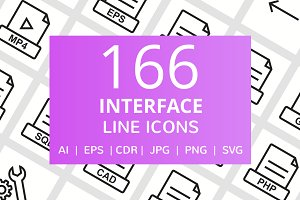 166 Interface Line Icons
