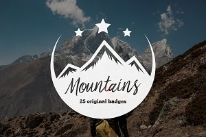 Set of Mountains Logo & Badges