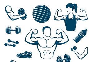 Fitness Monochrome Elements Set