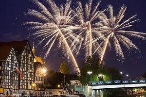 Holiday Fireworks in Bydgoszcz City