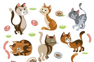 Funny Cats Characters Set