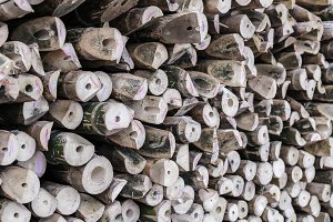 Pile of wood logs bamboo background