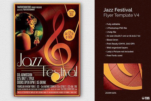Jazz Festival Flyer Template V4 Flyer Templates Creative Market