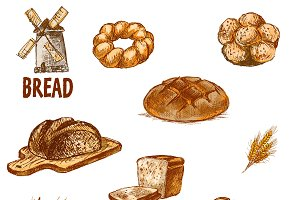 Vector bundle 10 bread set theme 9