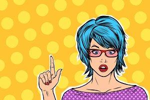 pop art kitsch woman points