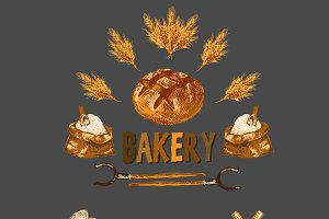 Vector bundle 5 bread set theme 12