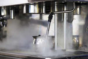 Steam from the capuchinator
