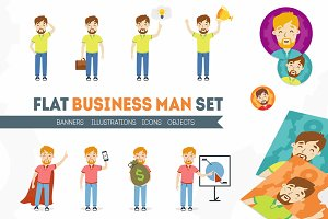 Flat business man set