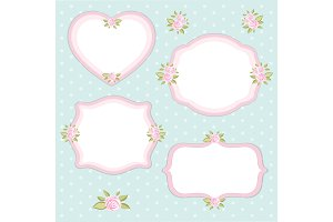 Retro set of floral frame with roses in shabby chic style