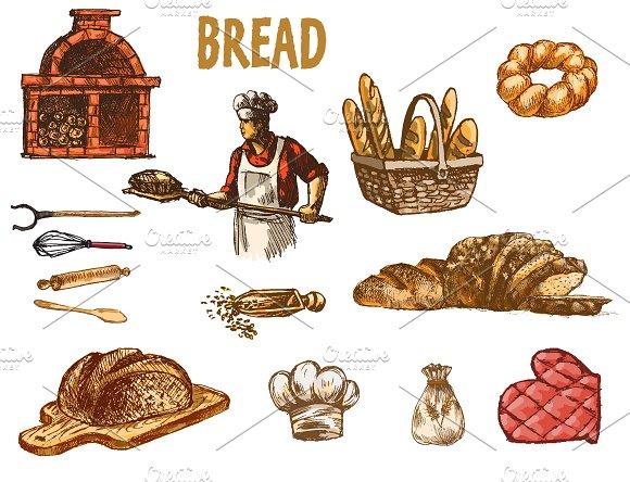 Vector Bundle 10 Bread Set Theme 18