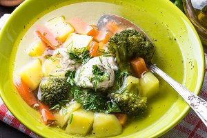 Chicken and vegetables soup.