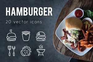 HAMBURGER - vector line icons