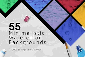 55 Watercolor Backgrounds 50% OFF