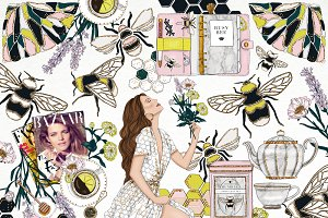 Bumble Bee Fashion Girl Clip Art