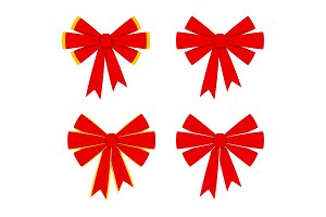 red bow icons set