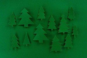 green decorative paper christmas tre