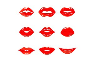 set of red woman lips