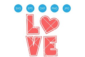 Love with Heart SVG Cutting File