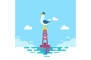 Colorful seagull bird on blue calm sea coast. Vector illustration