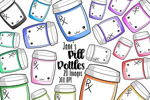 Kawaii Medication Bottles Clipart