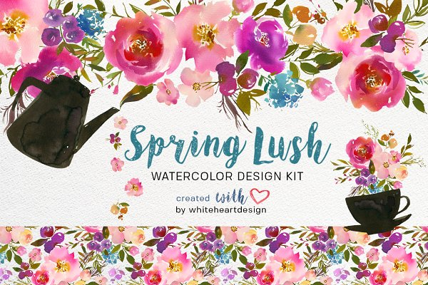Spring Lush Watercolor Flowers PNG