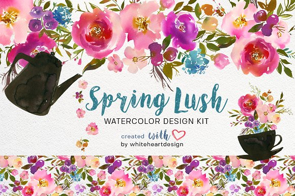 Spring lush watercolor flowers png illustrations creative market spring lush watercolor flowers png illustrations mightylinksfo