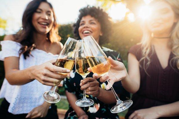 Female friends having drinks