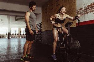 Female doing cardio workout v