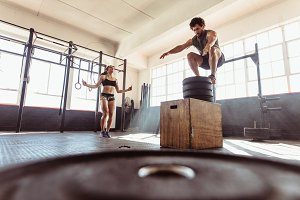 Couple during intense workout