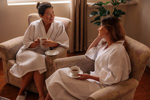 Two women waiting for their spa