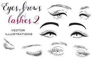 Woman eyes and lashes set 8 vectors