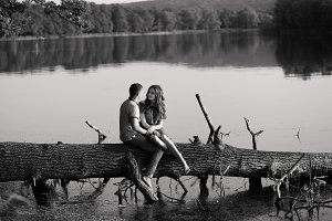 Romantic beautiful couple in love to