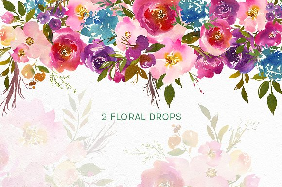 spring lush watercolor flowers png illustrations creative market