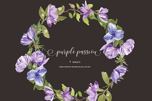 Watercolor purple flowers wreath