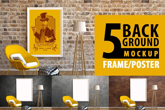 Frame/Poster Mockup Armchair Yellow in Print Mockups