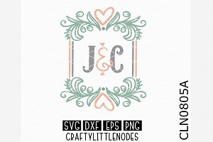 Wedding Couple Monogram Frame SVG