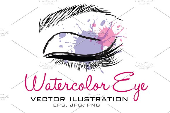 Watercolor eye vector illustration