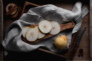 Still life of pear's slices