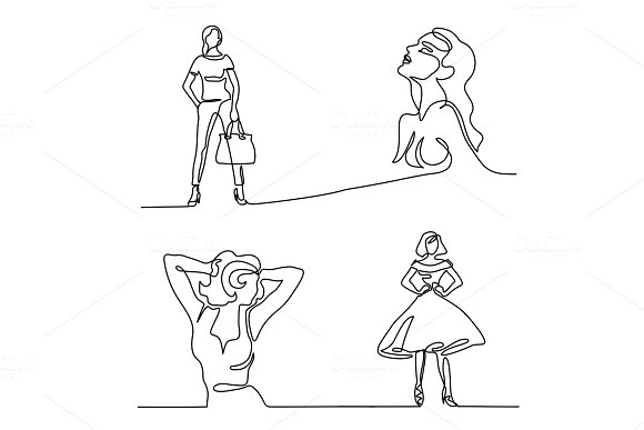 Set silhouette of a slender woman
