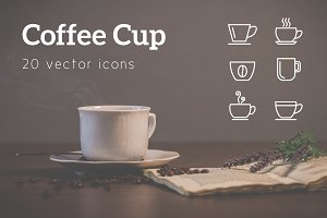 COFFEE CUP - vector line icons