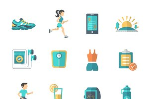 Jogging and fitness icons set