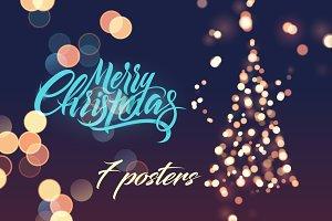 Calligraphic retro Christmas card.