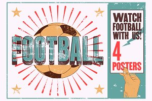Football typographic vintage poster.