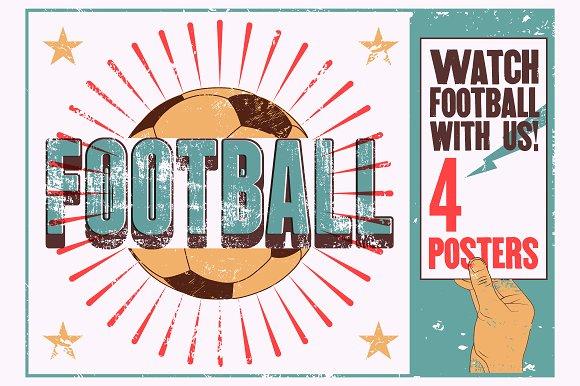 Football Typographic Vintage Poster