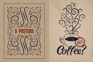 Coffee calligraphic vintage poster.