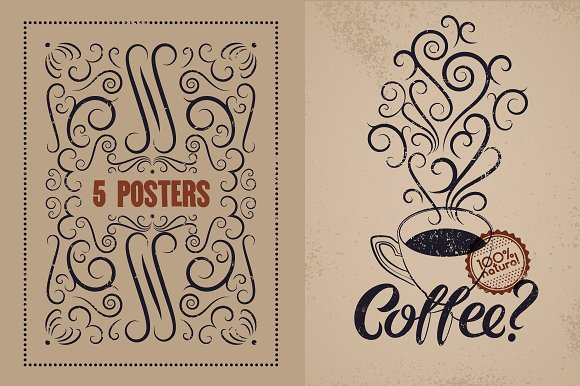 Coffee Calligraphic Vintage Poster