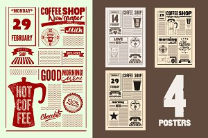 Coffee Shop vintage posters.