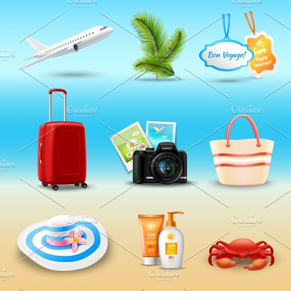 Vacation realistic icons set